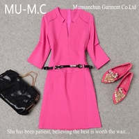 2014Wholesale High-End European American Women's New Fashion Minimalist Sleeve Cotton  Autumn And Winter Dress With Belt