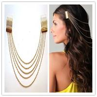 Sheegior 2014 New Boho Punk Style Women Gold Hair Cuff Pin Head Band Chains 2 Combs women hair jewelry Free shipping !
