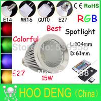 2PCS AC85-265V RGB LED Spotlight 15W  E27 led Colorful Spotlight with Remote Control led lighting free shipping