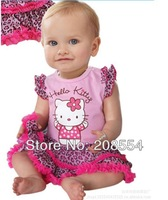 Wholesale Free Shipping#10pcs/lot Newest hello kitty Cute dress suit with short sleeve,girl princess dress,baby girl clothes 14