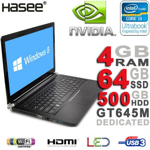 "BRAND NEW Hasee 14"" LED Display Intel Core i3-3217U 1.8GHz Ultrabook Laptop 2GB NVIDIA GT645M 4GB RAM 500G HDD 64GB SSD HDMI USB(China (Mainland))"