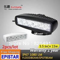 "Free shipping 2pcs 5.5"" 15W LED Work light Working Driving Lamp Bulb Spot Flood Truck SUV ATV Off-Road Car 12v 24v Black White"