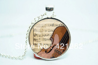 10pcs/lot Violin Necklace, Musical Instrument Jewelry, Music Lovers Pendant Glass Cabochon Necklace