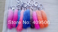Short gradient color mixed 100% Real mink hair Fur rhinestone ring Tail Keychain, sable fur Bag pendants Accessory