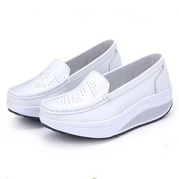 2013 nurse shoes white swing women's shoes genuine leather shoes wedges platform shoes sports shoes summer single shoes