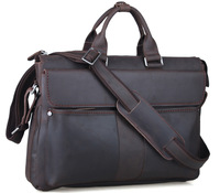 Genuine leather handbag vintage fashion briefcase for men dark brown laptop bag limited edition TIDING 1096