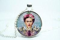 10pcs/lot Frida Kahlo Necklace, Feminists Artist Jewelry, Art Pendant Glass Cabochon Necklace