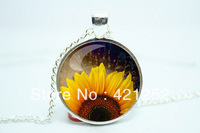 10pcs/lot Sunflower Necklace, Botanical Jewelry, Flower Pendant Glass Cabochon Necklace