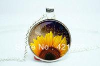 10pcs/lot Sunflower Necklace, Botanical Jewelry, Flower Pendant Glass Cabochon Necklace