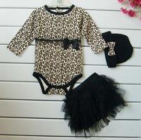 Free shipping Baby girls 3pcs sets:long sleeved rompers + tutu skirt dress+headband(hat) Autumn girls leopard kids clothing sets
