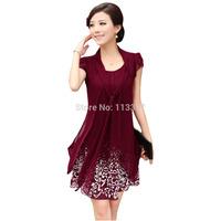 2014 Hot Summer New Fashion Women's High Quality Pretty Casual Plus size XL/2XL/3XL/4XL/5XLKnee Length Chiffon Dress Print Dress