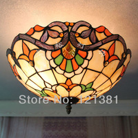 "Vintage Tiffany Style Baroque Ceiling Lamp Stained Glass Lampshade Handcrafted Classic Style Lighting Fixtures 16""Wide Bedroom"