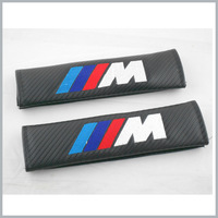 1pairs X  M tech Power Emblem Black Carbon fiber  Lorinser Seat Belt Sholder Pads Motor Sport Free shiping  By Post Air Mail