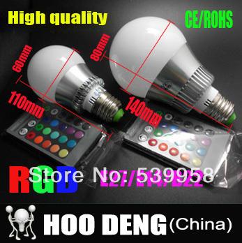 8pcs/lot 4W 10W E27/E14/GU10 RGB bulb 16 Colors LED Light Bulb Lamp Spotlight 85-265V + IR Remote Control Free shipping