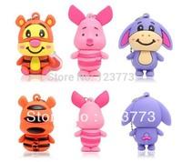 Wholesales 3 pcs together cartoon lovely animal tiger /pig/donkey usb 2.0 memory flash drive pendrive free shipping