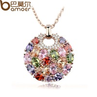 2015 Aliexpress Hot Sell Multicolor Crystal Round Necklaces & Pendants for Women 18k Gold Plated Swiss CZ Zircon Jewelry JIN004