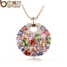 2014 Aliexpress Hot Sell Multicolor Crystal Pendant Necklace for Women 18k Rose Gold Plated Swiss CZ Zircon Round Jewelry JIN004