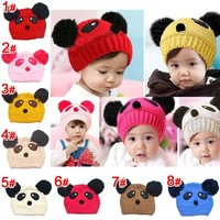 Free Shipping Baby Panda Hat Woolen Baby Knit Warm Hat Children Sleeve Cap Kid Hats For Winter children's winter hats for girls