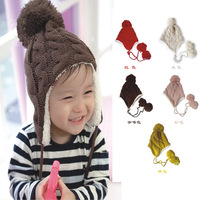 MOQ 1 PCS FREE SHIPPING 4 Colors Children Knitted Hats Winter Crochet Hat With Villi Inner Baby Boys Girls Kids Earflap Caps