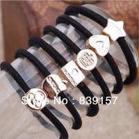 100pieces/lot Elastic hair bands   accessory rope  headband brief black color 10 designs