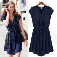 Hot !!  Free shipping new 2013 women's fashion medium-long vestidos one-piece dress chiffon Fold sleeveless knee-length  dress