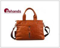2014 Genuine Leather Handbag Men Shoulder Bag Purses Brown Casual Messenger Travel Bag BH9066+Free Shipping