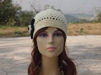 woman winter hat women caps Beige black hat wool crochet hat free shipping