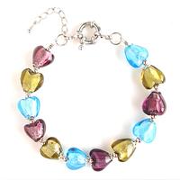 2015 Blue Purple And Golden Heart  Murano Glass Beads Bracelet Bead Bracelets