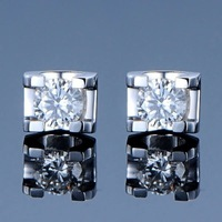 synthetic Diamond earrings Classic High Quality wedding women earring Bright luxury 925 sterling silver 18K gold plated earrings