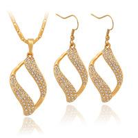 Vintage Figaro Scroll Clear Austrian SWA Rhinestone Pendant Earrings Necklace 18K Gold Plated  Jewelry Set For Women MGC S732