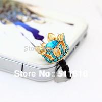18K Gold Plated Fashion Crowns Jewel 3.5mm Mobile Smart Cellphone Earphones Headphones Jack Dust Cap Plug For iPhone 4S 5 5C