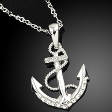 10pcs lot wholesale jewelry 18k white gold plated silver color austrian crystal rhinestone anchor necklace pendant