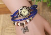 Wholesale trade vintage watches square head bronze butterfly pendant retro bracelet watch face long-term stock 7 colors