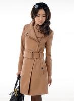 2013 Winter Korean version of the long section single zipper turndown collar wool coat women's coat  with belt  401