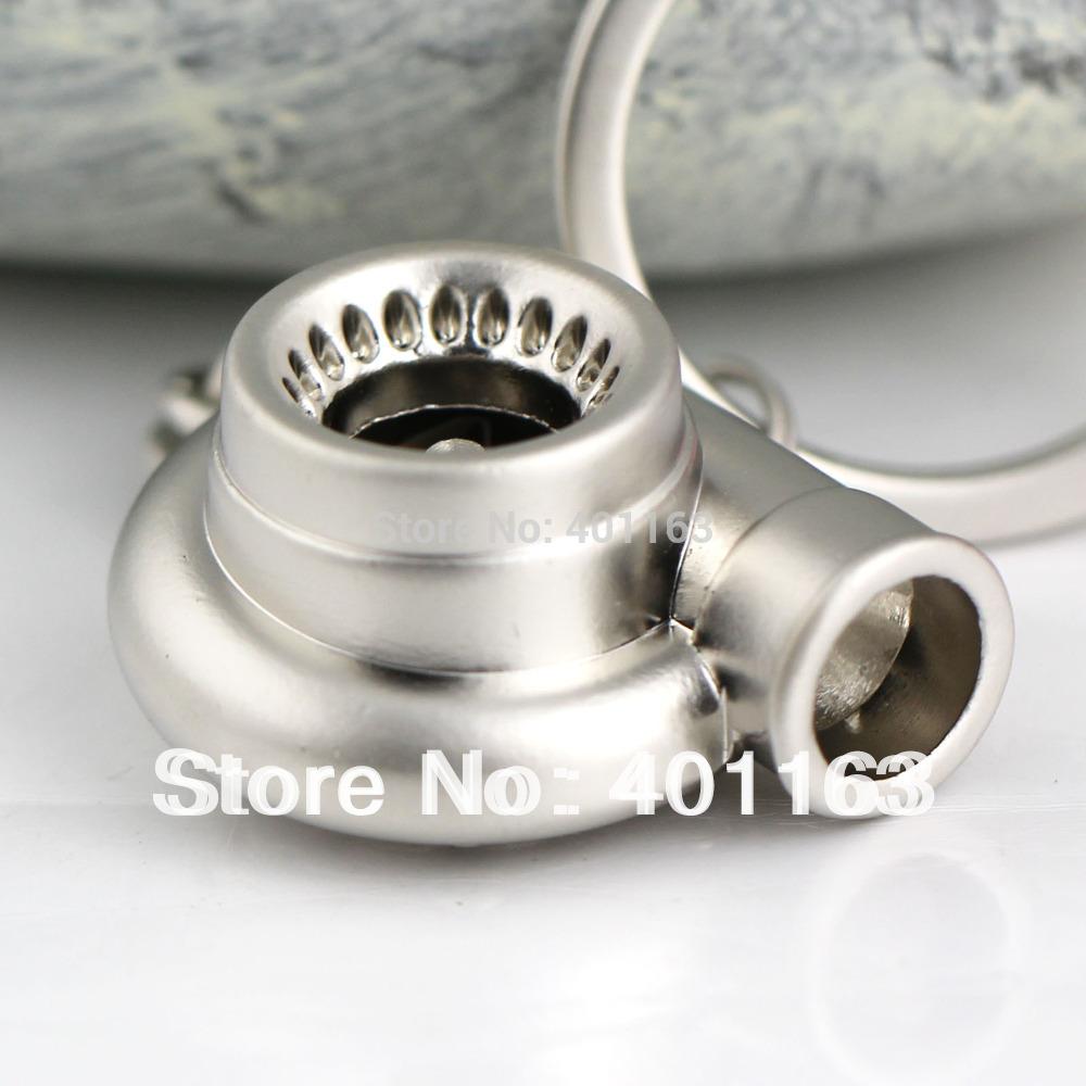 M86097-4 Car Parts Model Matte Silver Color Sleeve Spinning Turbo Turbine Turbocharger Keychain Keyring Key Chain Ring Keyfob(China (Mainland))