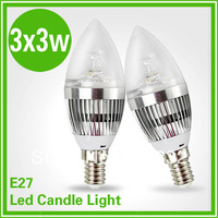 9W  85~265V  E27 LED lamp  candle light silver shell  cool white/warm white Spot Light non dimmable,spotlight for home light