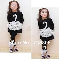 2014 New Winter Autumn Girl's Clothing Sets Swan Long Sleeve T shirt 2 pcs Long Pants Baby Kids Girls Dress Suits Drop Shipping