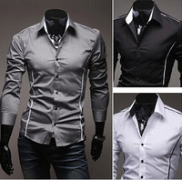 2014 men's fashion cultivate Casual man  morality autumn outfit new recreational contracted long sleeve shirts