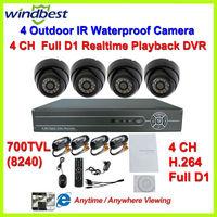 4CH Full D1 H.264 DVR Kit Night Vision Weatherproof Security Dome 700TVL Camera Surveillance Video System DIY CCTV Camera System