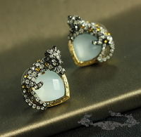 2013 fashion new arrival  Luxury Jewelry  Golden plated Leopard Mint Crystal statement Earrings party queen OEM
