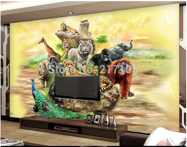Custom 3d Stereoscopic Wallpaper Safari For Children S