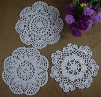 handmade Crochet cotton doilies cup mat Pad vintage crochet table cloth Placemats White 16-20CM 24pcs/LOT