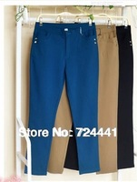 Autumn Spring 2014 Women Plus Size Pants High Elastic Skinny Casual Pant High Waist Pencil Pants Trousers XL- 6XL Free Shipping