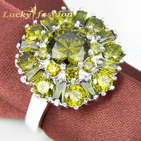 Fashion Elegant Russian Style Green Peridot Zircon Punk Rings Fancy Style Party Crystal Rings for Women Men