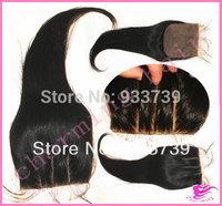 Malaysian 3 part  lace closure,4x 4 human hair silk lace closure hidden knots,unprocessed straight virgin hair silk base closure