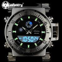 INFANTRY Men's NEW Fashion Military Army Black Chronograph Dual Quartz Backlight Lume Silicone Wrist Watch