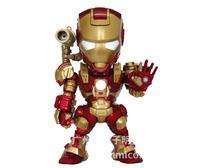 Free shipping 15cm Iron Man with light Warmachine PVC Action figure Model toys Golden Boy toys KL0702