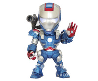 Free shipping 15cm Iron Man with Light  PVC Action figure Model toys Warmachine+flag+figure Blue Boy toys KL0702