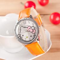 2014 NEW Fashion Hello Kitty Ladies Wristwatches Leather Strap Quartz Full Steel Watches Women Rhinestone Dress Watch 2014