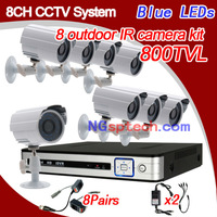 Home security 800TVL Night Vision  8ch DVR with D1 8pcs IR Cameras Surveillance System 8ch DVR  CCTV System Kit,free shpping!
